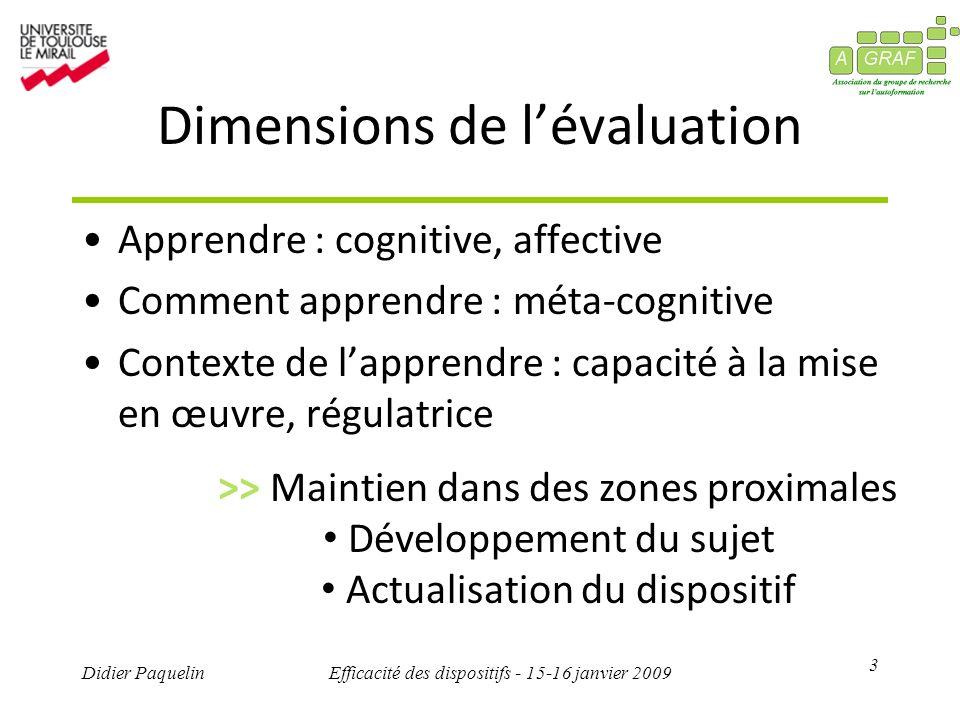 3 Didier PaquelinEfficacité des dispositifs - 15-16 janvier 2009 Dimensions de lévaluation Apprendre : cognitive, affective Comment apprendre : méta-c