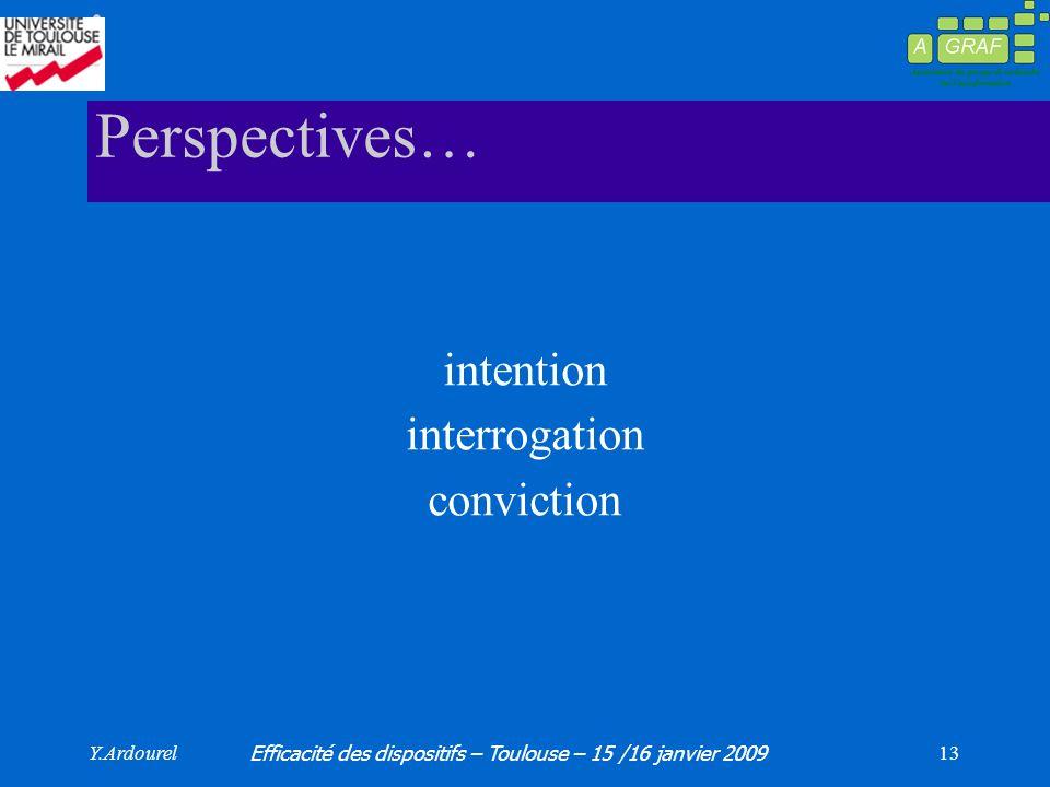 Y.Ardourel Efficacité des dispositifs – Toulouse – 15 /16 janvier 2009 13 Perspectives… intention interrogation conviction
