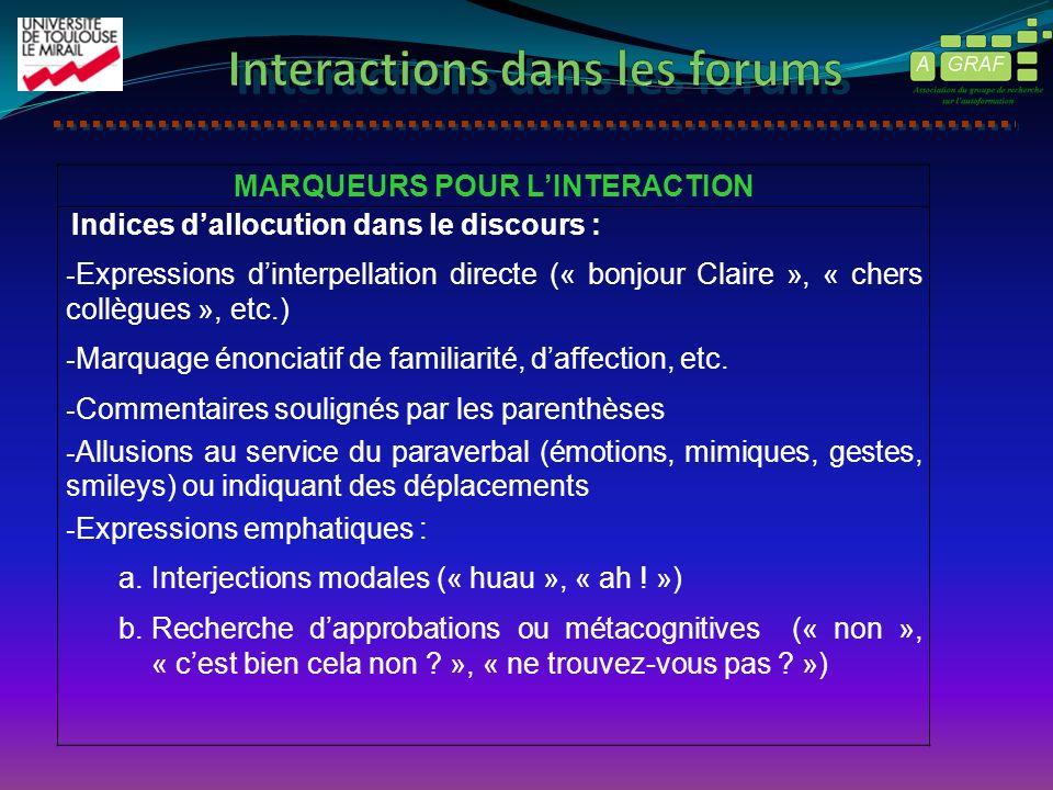 MARQUEURS POUR LINTERACTION Indices dallocution dans le discours : - Expressions dinterpellation directe (« bonjour Claire », « chers collègues », etc