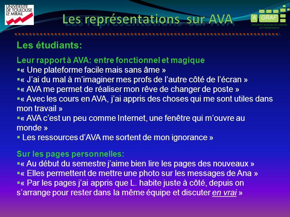 Les étudiants: Leur rapport à AVA: entre fonctionnel et magique « Une plateforme facile mais sans âme » « Jai du mal à mimaginer mes profs de lautre c