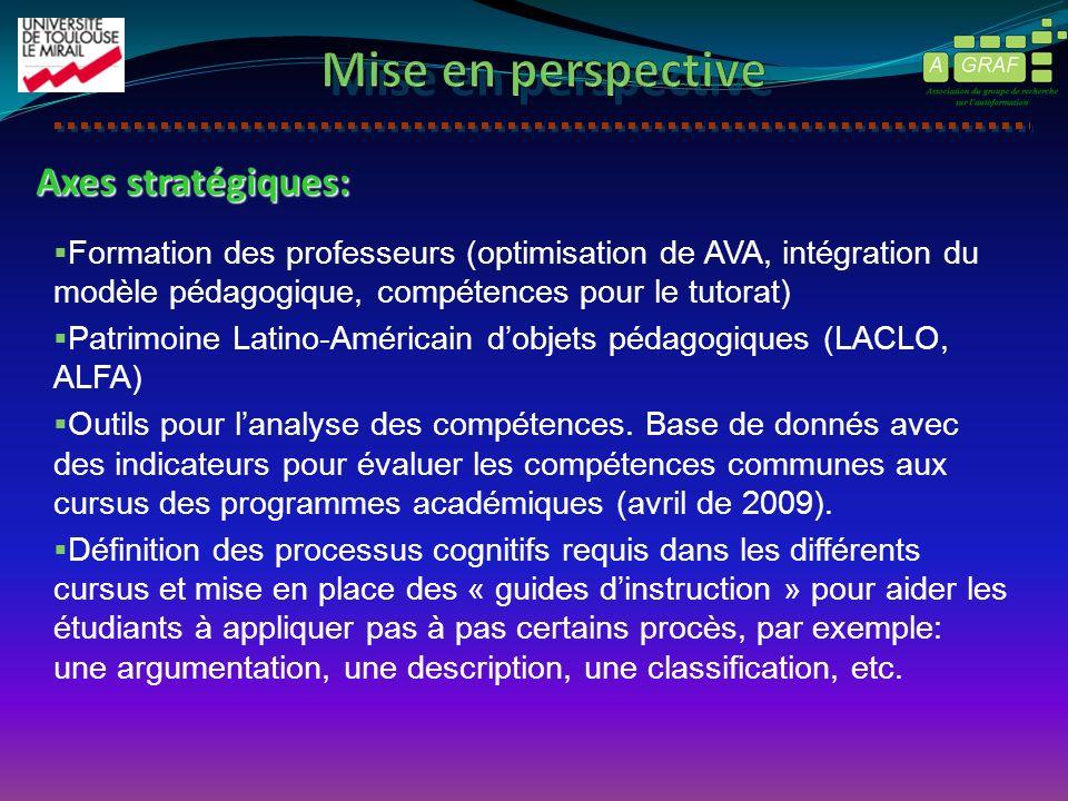 Axes stratégiques: Formation des professeurs (optimisation de AVA, intégration du modèle pédagogique, compétences pour le tutorat) Patrimoine Latino-A