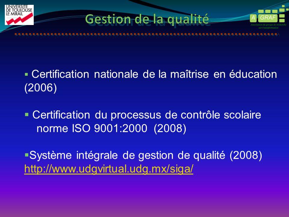 Certification nationale de la maîtrise en éducation (2006) Certification du processus de contrôle scolaire norme ISO 9001:2000 (2008) Système intégral