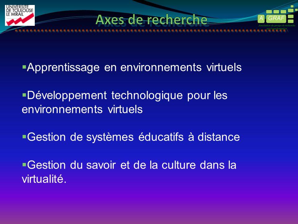 Apprentissage en environnements virtuels Développement technologique pour les environnements virtuels Gestion de systèmes éducatifs à distance Gestion du savoir et de la culture dans la virtualité.