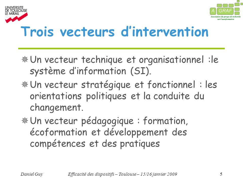Daniel GuyEfficacité des dispositifs – Toulouse – 15/16 janvier 20095 Trois vecteurs dintervention Un vecteur technique et organisationnel :le système dinformation (SI).