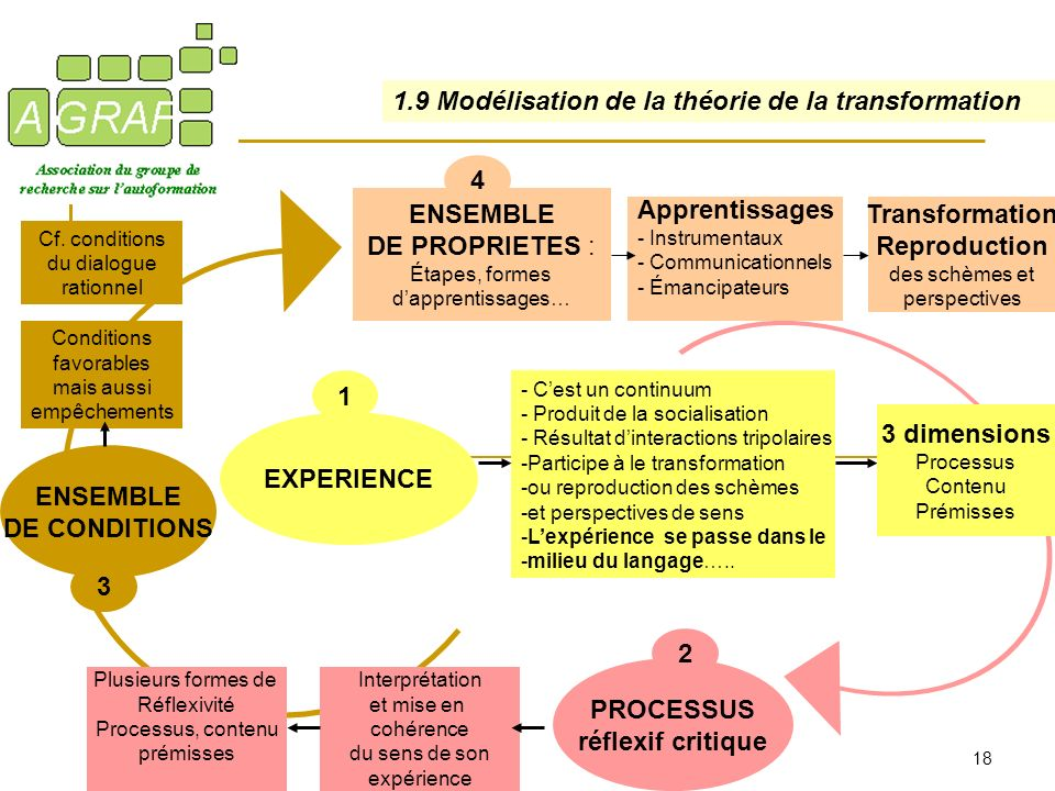 18 EXPERIENCE 1 PROCESSUS réflexif critique ENSEMBLE DE CONDITIONS 3 2 ENSEMBLE DE PROPRIETES : Étapes, formes dapprentissages… Interprétation et mise
