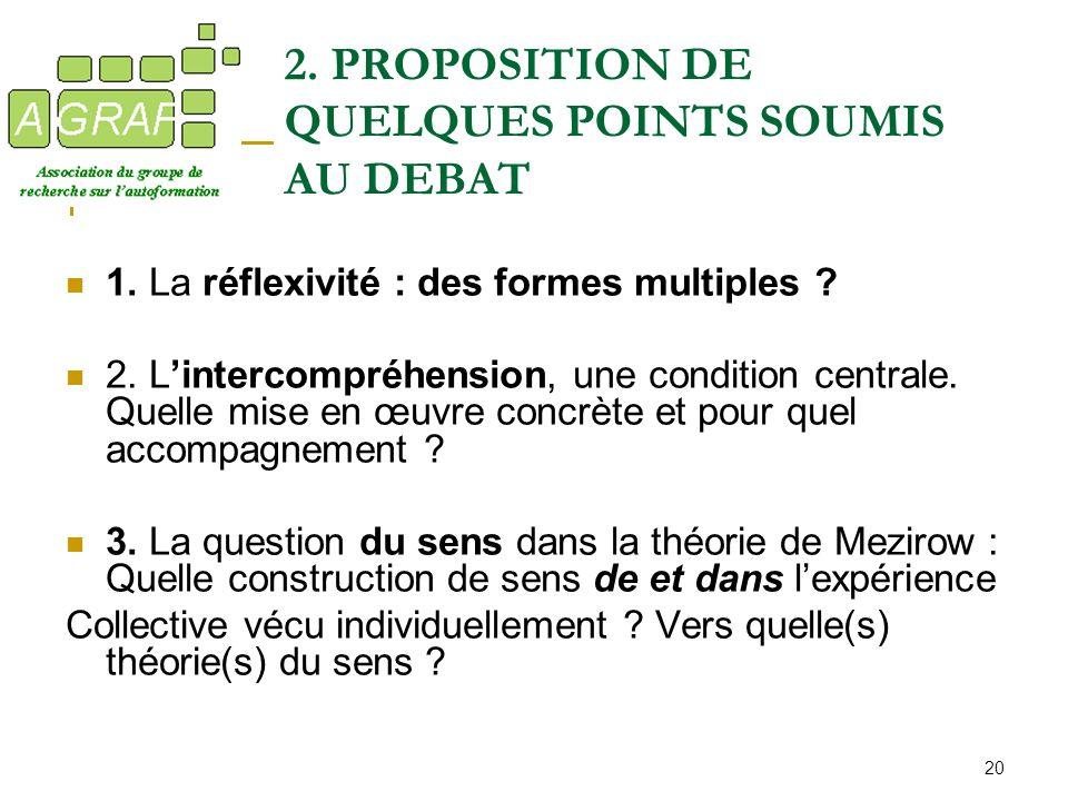 20 2. PROPOSITION DE QUELQUES POINTS SOUMIS AU DEBAT 1. La réflexivité : des formes multiples ? 2. Lintercompréhension, une condition centrale. Quelle