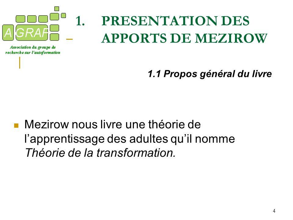 4 1.PRESENTATION DES APPORTS DE MEZIROW Mezirow nous livre une théorie de lapprentissage des adultes quil nomme Théorie de la transformation. 1.1 Prop