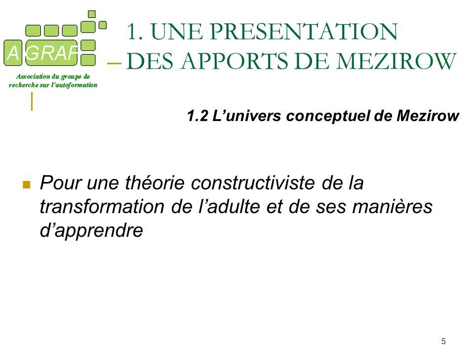 5 Pour une théorie constructiviste de la transformation de ladulte et de ses manières dapprendre 1.2 Lunivers conceptuel de Mezirow 1. UNE PRESENTATIO