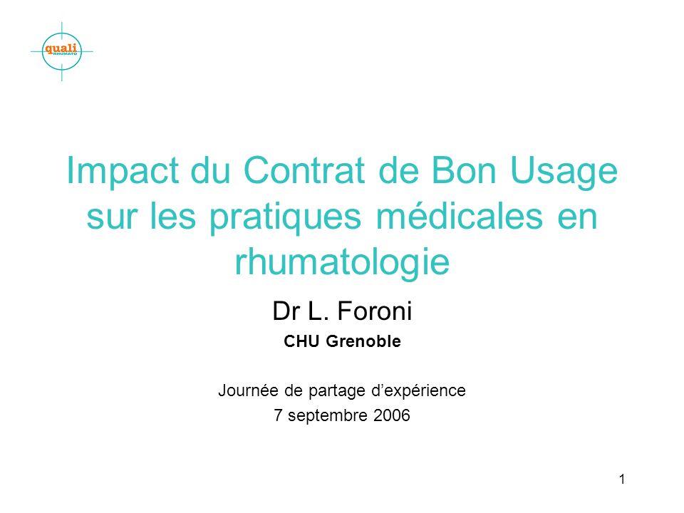1 Impact du Contrat de Bon Usage sur les pratiques médicales en rhumatologie Dr L. Foroni CHU Grenoble Journée de partage dexpérience 7 septembre 2006