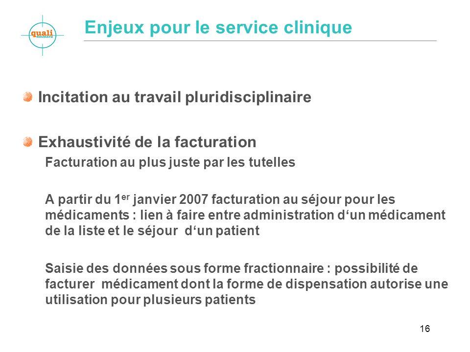 16 Enjeux pour le service clinique Incitation au travail pluridisciplinaire Exhaustivité de la facturation Facturation au plus juste par les tutelles