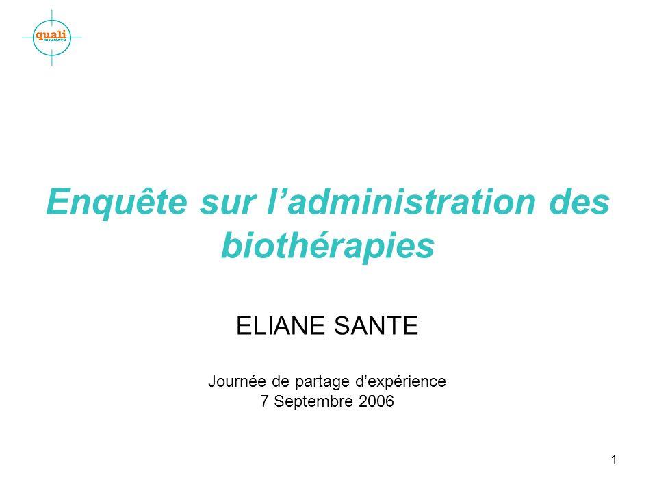 1 Enquête sur ladministration des biothérapies ELIANE SANTE Journée de partage dexpérience 7 Septembre 2006