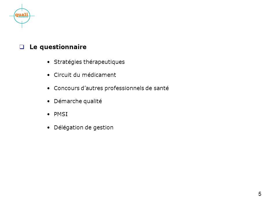 5 Le questionnaire Stratégies thérapeutiques Circuit du médicament Concours dautres professionnels de santé Démarche qualité PMSI Délégation de gestion