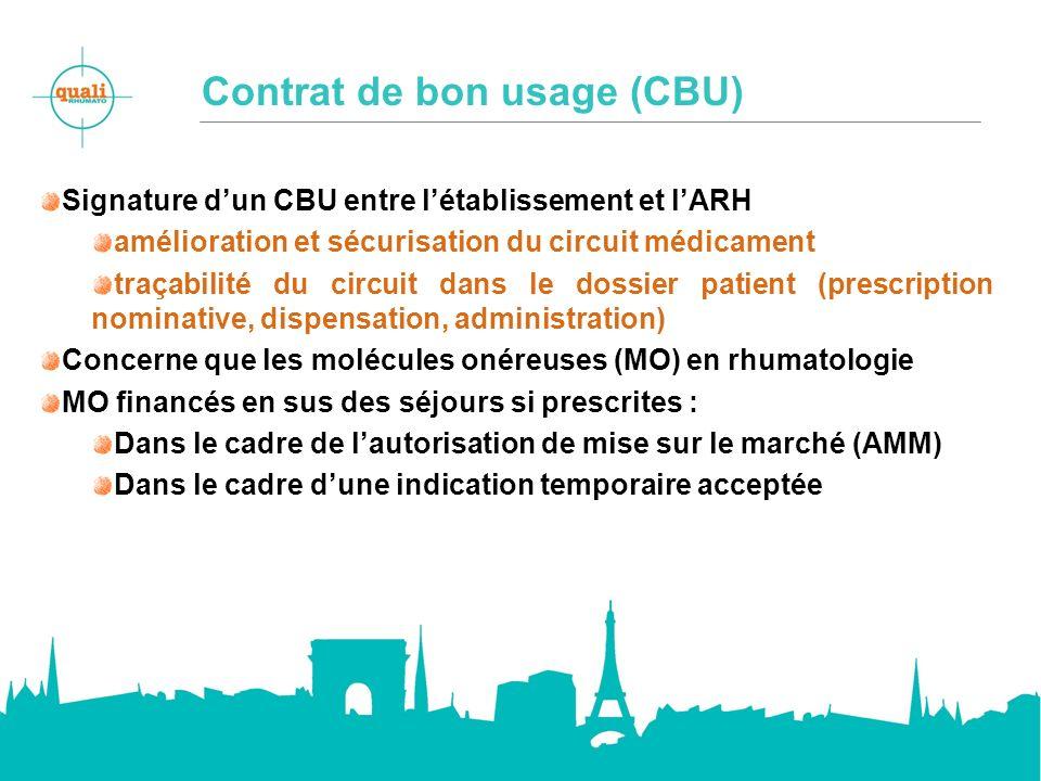 Contrat de bon usage (CBU) Signature dun CBU entre létablissement et lARH amélioration et sécurisation du circuit médicament traçabilité du circuit da