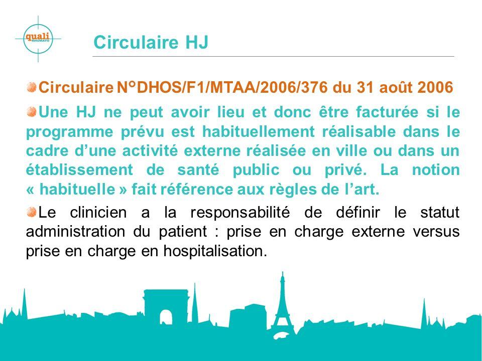 Circulaire HJ Circulaire N°DHOS/F1/MTAA/2006/376 du 31 août 2006 Une HJ ne peut avoir lieu et donc être facturée si le programme prévu est habituellement réalisable dans le cadre dune activité externe réalisée en ville ou dans un établissement de santé public ou privé.