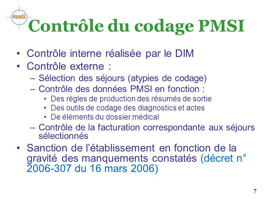 7 Contrôle du codage PMSI Contrôle interne réalisée par le DIM Contrôle externe : –Sélection des séjours (atypies de codage) –Contrôle des données PMS