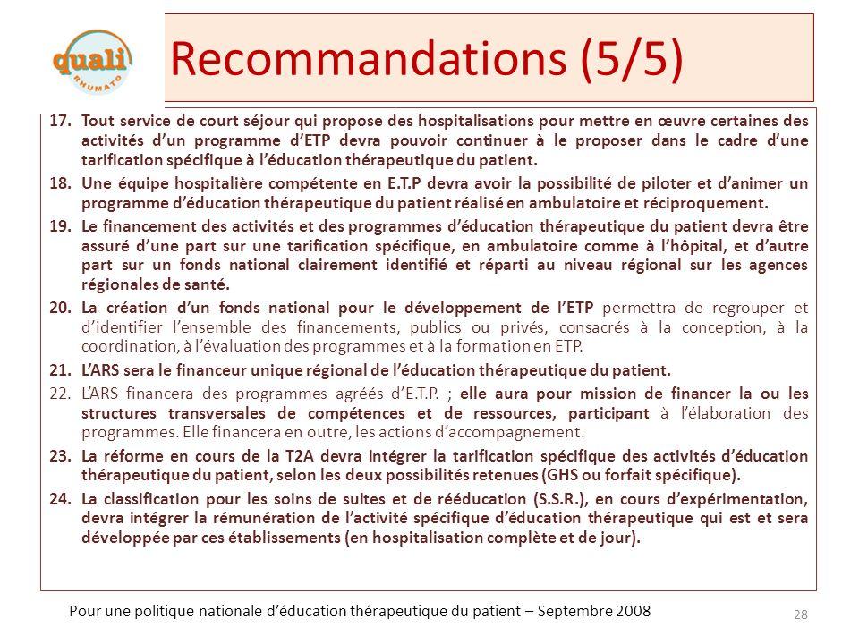 Formation Formation initiale et continue +++ (proposition SFSP, Plan QdV maladie chronique) Sensibilisation et promotion des recommandations HAS et INPES pour faire évoluer la pratique Qualité de la formation : – Niveau 1 : expert en ET (formations spécialisées) – Niveau 2 : responsable de programmes dET (DU 120 – 200h) – Niveau 3 : sensibilisation intensive à lET (modules formation 30 – 50h) – Niveau 4 : sensibilisation à lET (congrès, EPU) 2 ème axe, 4 ème mesure du plan 2007-2011 damélioration de la qualité de vie des personnes atteintes de maladie chronique Prioriser lET dans les formations hospitalières et conventionnelles (SFSP) Faciliter les processus de validation des acquis de lexpérience pour laccès à des formation niveau master (SFSP) Permettre la formation des volontaires associatifs pour quils agissent en tant que patients formateurs ou quils développent des actions communautaires (SFSP) Liste des formations : – http://www.inpes.sante.fr/index.asp?page=FormationsEpS/index.asp http://www.inpes.sante.fr/index.asp?page=FormationsEpS/index.asp 29 Formation en éducation thérapeutique