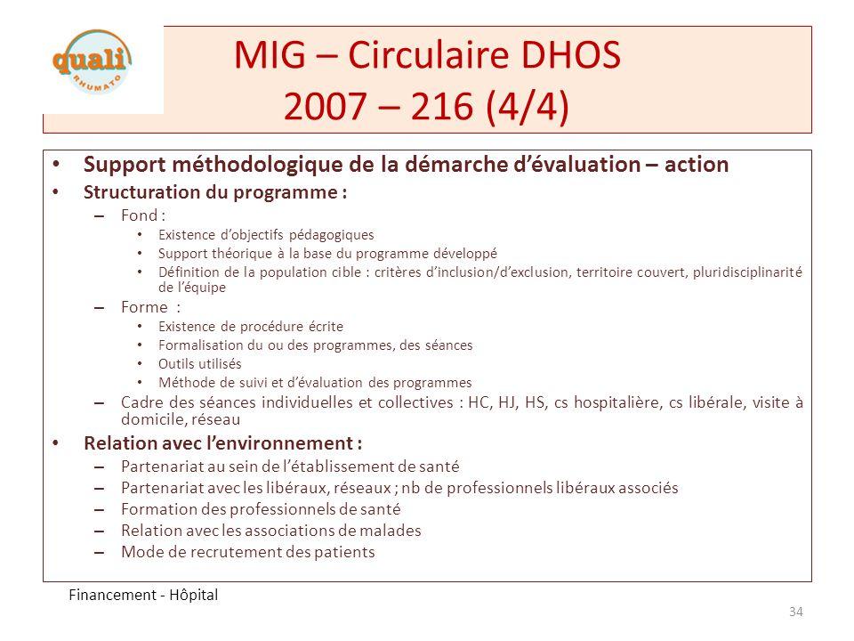MIG – Circulaire DHOS 2008 – 236 Modélisation du financement retenue pour la MIG « éducation thérapeutique » Répartition du financement de manière proportionnée aux activités et sur la base de critères de qualité.