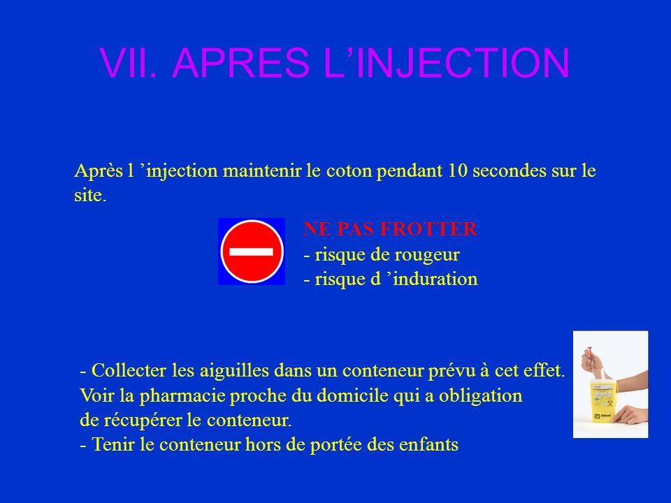 VII. APRES LINJECTION Après l injection maintenir le coton pendant 10 secondes sur le site. NE PAS FROTTER - risque de rougeur - risque d induration -