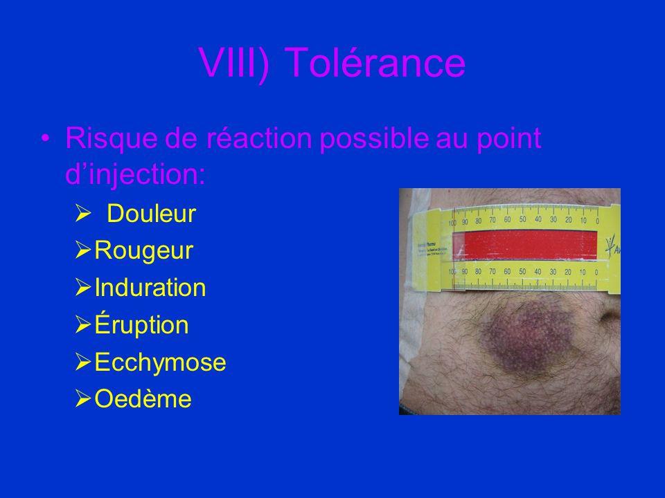 VIII) Tolérance Risque de réaction possible au point dinjection: Douleur Rougeur Induration Éruption Ecchymose Oedème