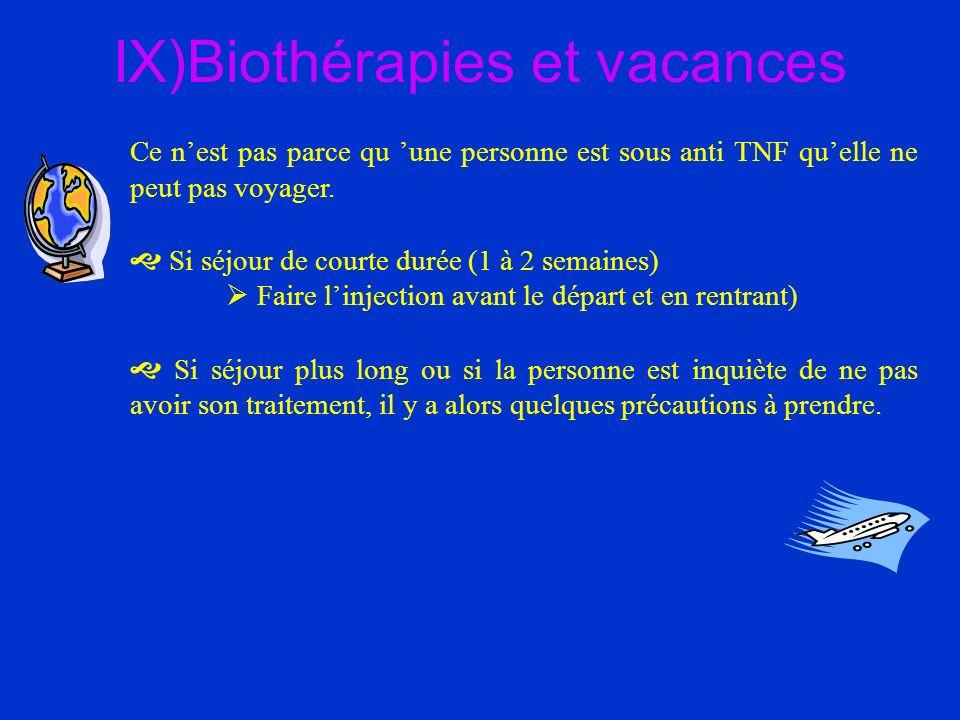 IX)Biothérapies et vacances Ce nest pas parce qu une personne est sous anti TNF quelle ne peut pas voyager. Si séjour de courte durée (1 à 2 semaines)