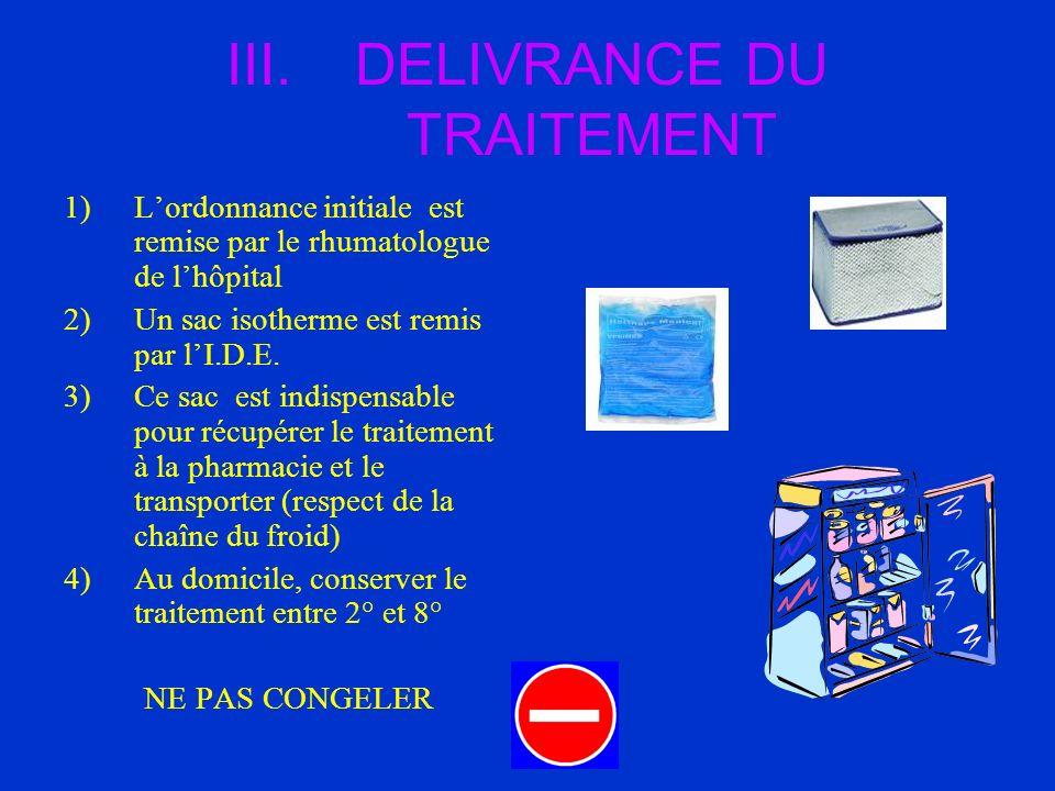 III.DELIVRANCE DU TRAITEMENT 1)Lordonnance initiale est remise par le rhumatologue de lhôpital 2)Un sac isotherme est remis par lI.D.E. 3)Ce sac est i