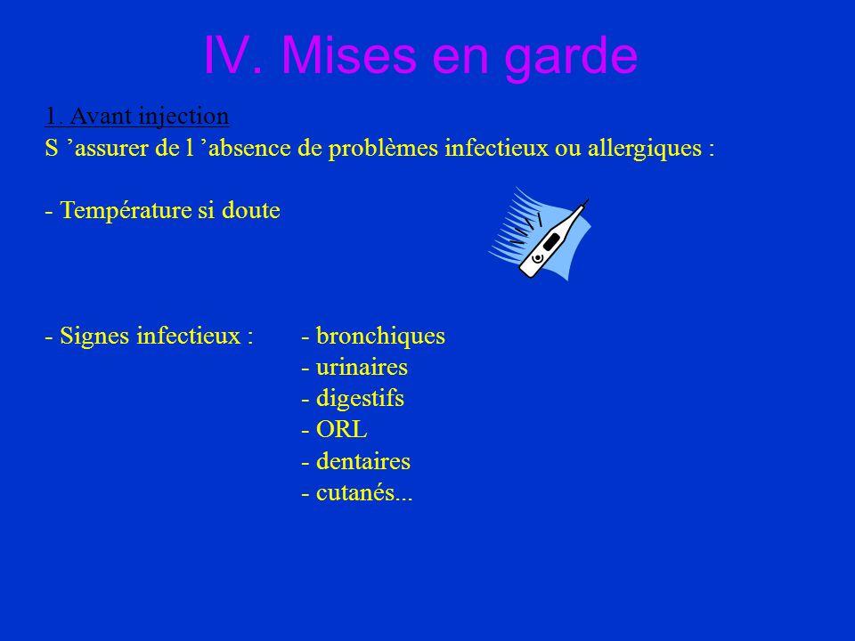 IV. Mises en garde 1. Avant injection S assurer de l absence de problèmes infectieux ou allergiques : - Température si doute - Signes infectieux : - b