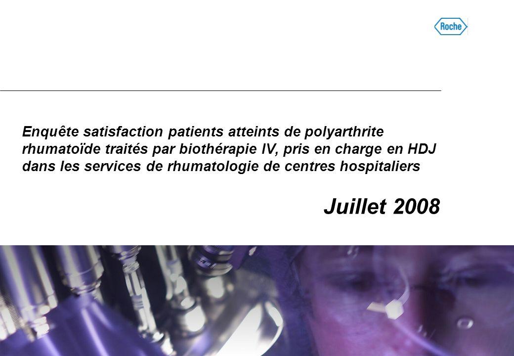Enquête satisfaction patients atteints de polyarthrite rhumatoïde traités par biothérapie IV, pris en charge en HDJ dans les services de rhumatologie