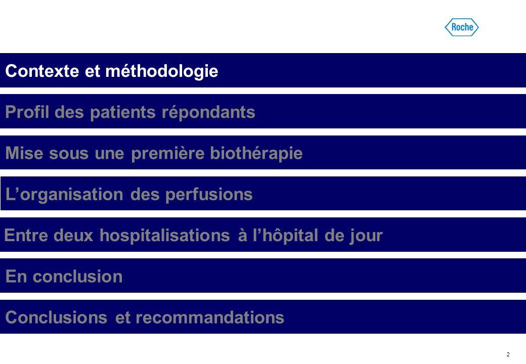 2 Contexte et méthodologie Profil des patients répondants Mise sous une première biothérapie Lorganisation des perfusions Entre deux hospitalisations