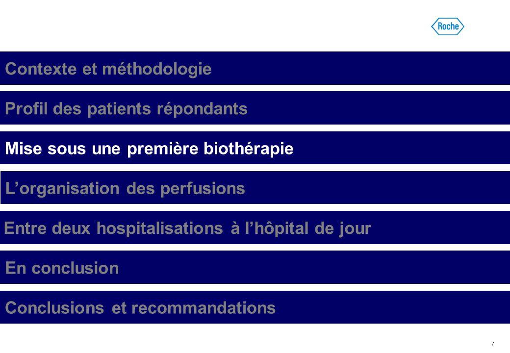 7 Contexte et méthodologie Profil des patients répondants Mise sous une première biothérapie Lorganisation des perfusions Entre deux hospitalisations