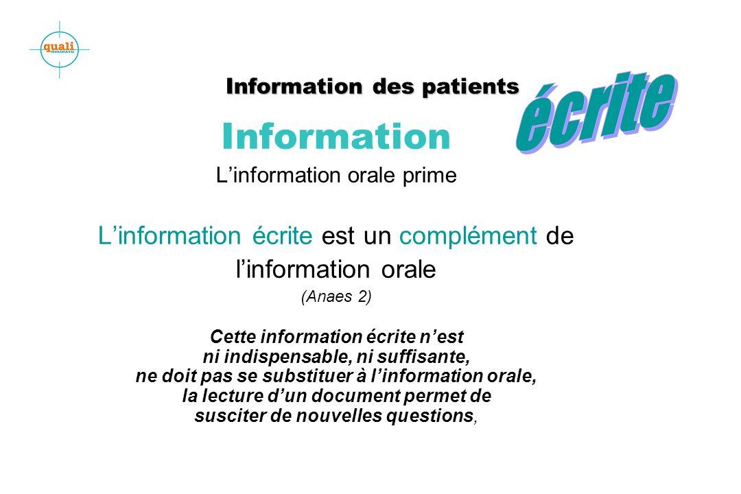 Information des patients Information des patients Information Linformation orale prime Linformation écrite est un complément de linformation orale (An