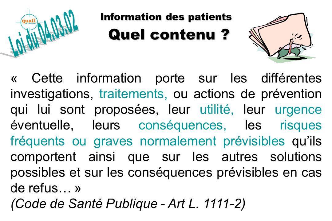 Information des patients Quelles modalités pratiques .