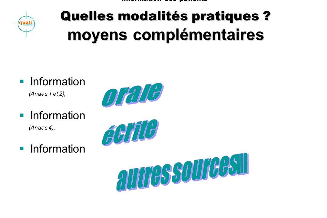 Quelles modalités pratiques ? moyens complémentaires Information des patients Quelles modalités pratiques ? moyens complémentaires Information (Anaes