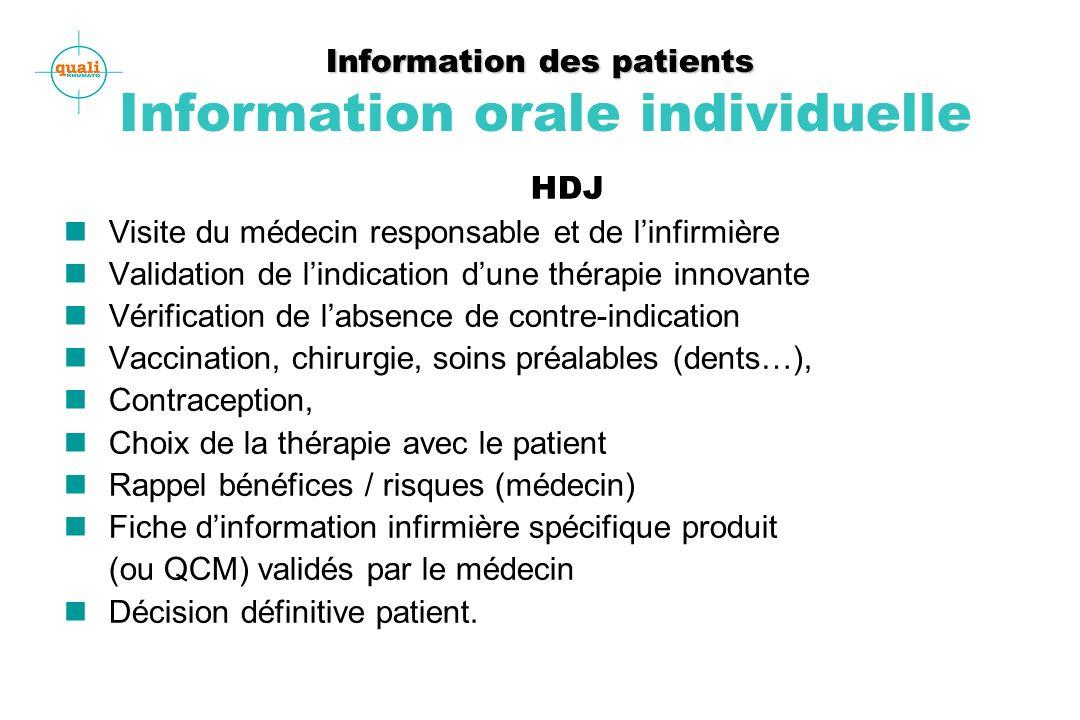 Information des patients Information des patients Information orale individuelle HDJ n Visite du médecin responsable et de linfirmière n Validation de