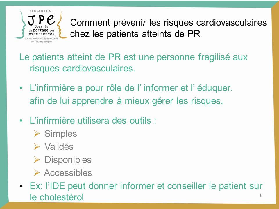 8 Comment prévenir les risques cardiovasculaires chez les patients atteints de PR Le patients atteint de PR est une personne fragilisé aux risques car