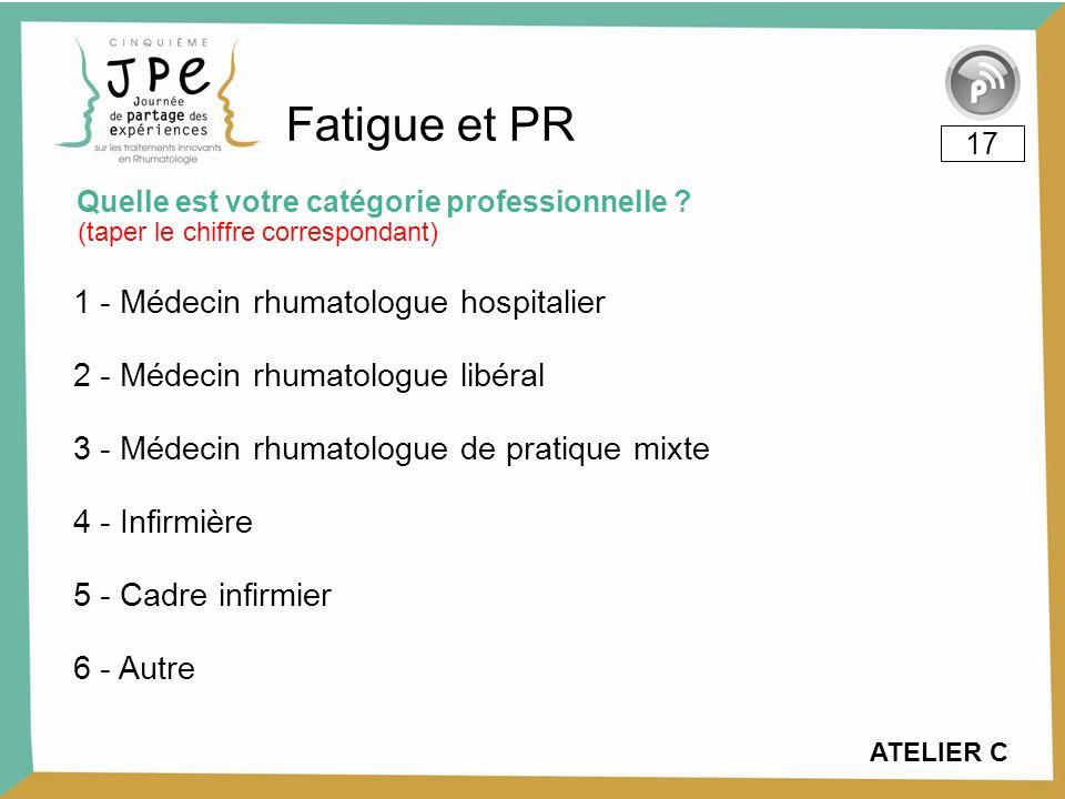 ATELIER C 1 - Médecin rhumatologue hospitalier 12% 2 - Médecin rhumatologue libéral 0% 3 - Médecin rhumatologue de pratique mixte 6% 4 - Infirmière 53% 5 - Cadre infirmier 6% 6 - Autre 24% Quelle est votre catégorie professionnelle .