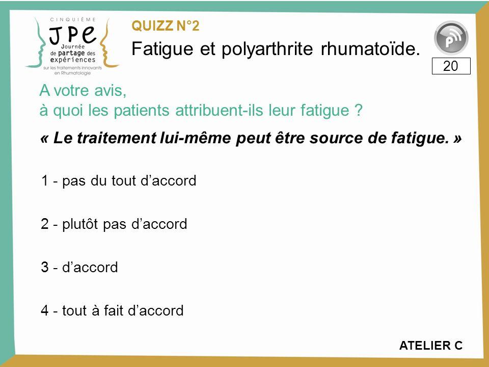 Fatigue et polyarthrite rhumatoïde.« Le traitement lui-même peut être source de fatigue.