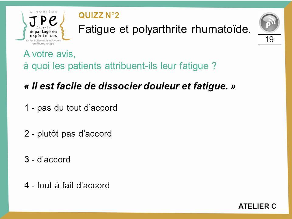 Fatigue et polyarthrite rhumatoïde.« Il est facile de dissocier douleur et fatigue.