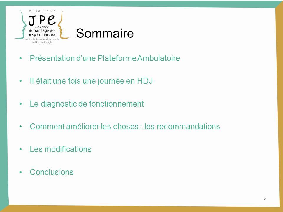 5 Sommaire Présentation dune Plateforme Ambulatoire Il était une fois une journée en HDJ Le diagnostic de fonctionnement Comment améliorer les choses
