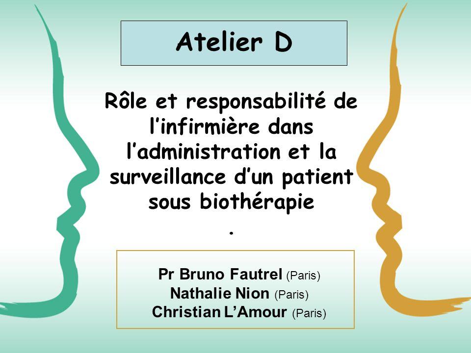 Rôle et responsabilité de linfirmière dans ladministration et la surveillance dun patient sous biothérapie. Atelier D Pr Bruno Fautrel (Paris) Nathali