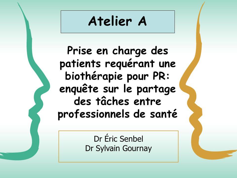 Prise en charge des patients requérant une biothérapie pour PR: enquête sur le partage des tâches entre professionnels de santé Dr Éric Senbel Dr Sylv