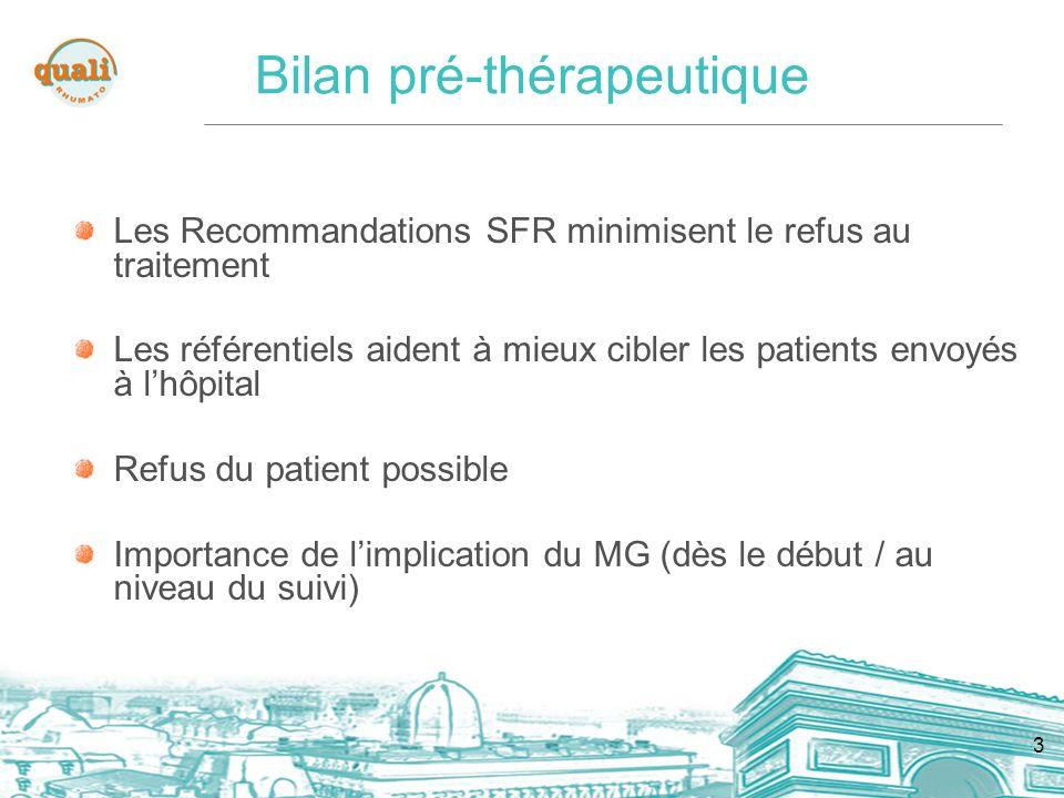 3 Bilan pré-thérapeutique Les Recommandations SFR minimisent le refus au traitement Les référentiels aident à mieux cibler les patients envoyés à lhôpital Refus du patient possible Importance de limplication du MG (dès le début / au niveau du suivi)