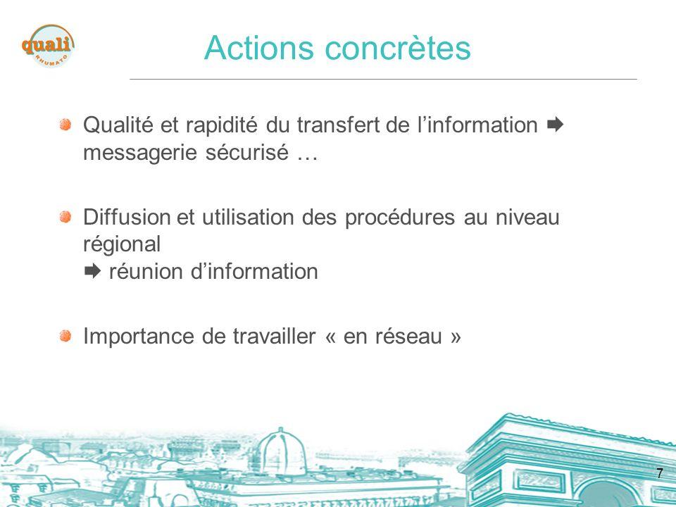 7 Actions concrètes Qualité et rapidité du transfert de linformation messagerie sécurisé … Diffusion et utilisation des procédures au niveau régional réunion dinformation Importance de travailler « en réseau »