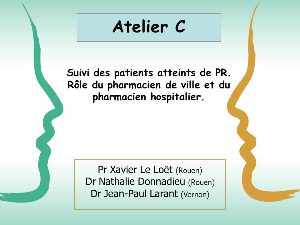 Suivi des patients atteints de PR. Rôle du pharmacien de ville et du pharmacien hospitalier. Pr Xavier Le Loët (Rouen) Dr Nathalie Donnadieu (Rouen) D