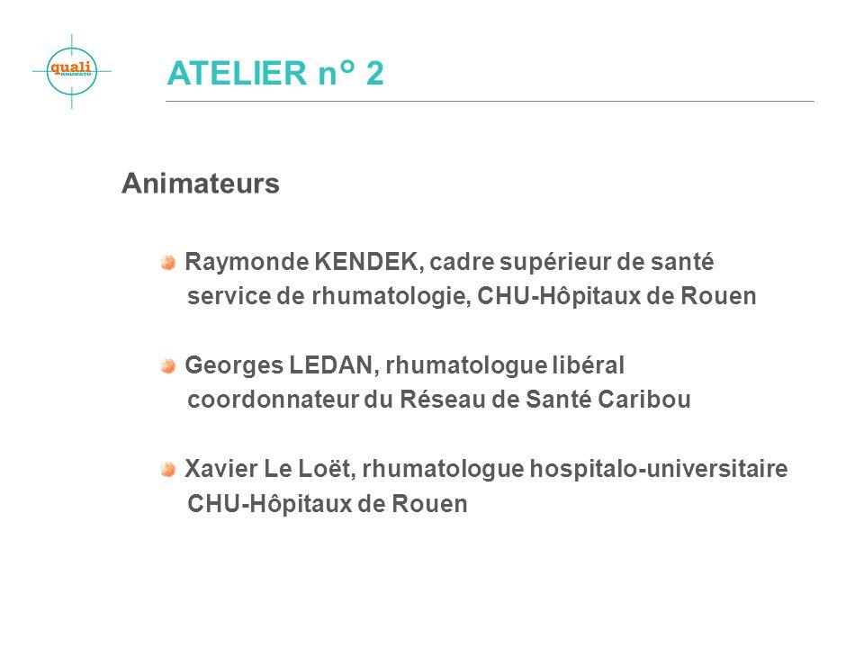 Animateurs Raymonde KENDEK, cadre supérieur de santé service de rhumatologie, CHU-Hôpitaux de Rouen Georges LEDAN, rhumatologue libéral coordonnateur du Réseau de Santé Caribou Xavier Le Loët, rhumatologue hospitalo-universitaire CHU-Hôpitaux de Rouen
