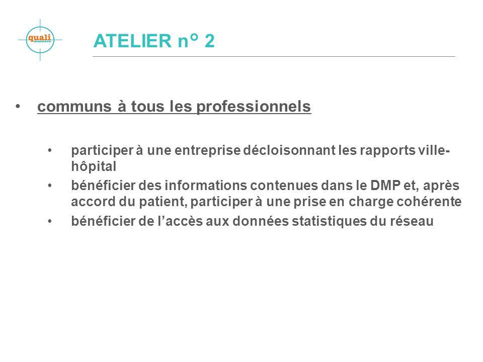 communs à tous les professionnels participer à une entreprise décloisonnant les rapports ville- hôpital bénéficier des informations contenues dans le DMP et, après accord du patient, participer à une prise en charge cohérente bénéficier de laccès aux données statistiques du réseau ATELIER n° 2