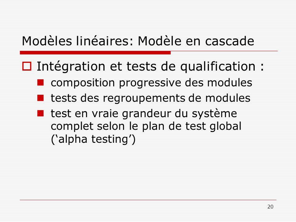 20 Modèles linéaires: Modèle en cascade Intégration et tests de qualification : composition progressive des modules tests des regroupements de modules