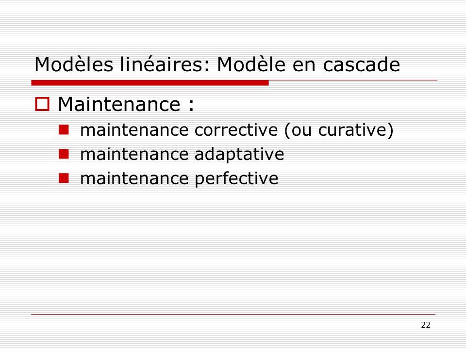 22 Modèles linéaires: Modèle en cascade Maintenance : maintenance corrective (ou curative) maintenance adaptative maintenance perfective