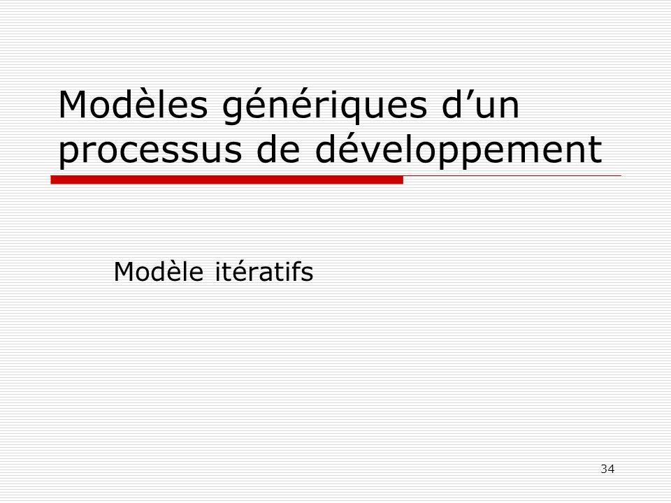 34 Modèles génériques dun processus de développement Modèle itératifs