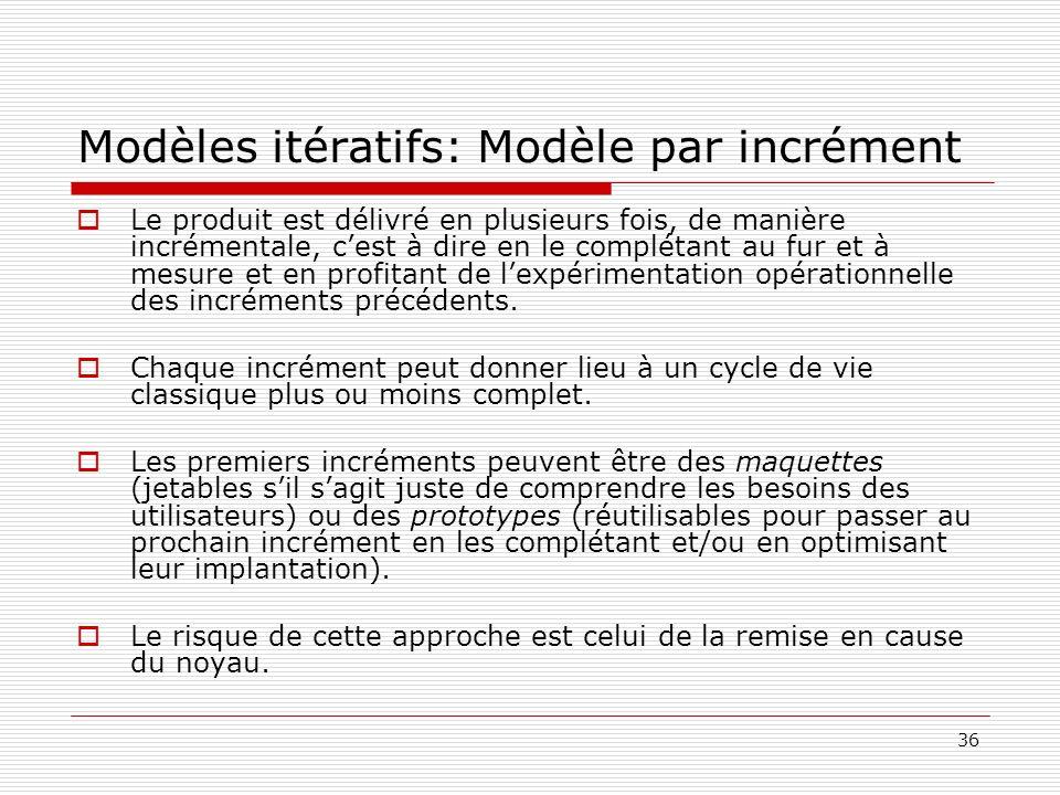 36 Modèles itératifs: Modèle par incrément Le produit est délivré en plusieurs fois, de manière incrémentale, cest à dire en le complétant au fur et à