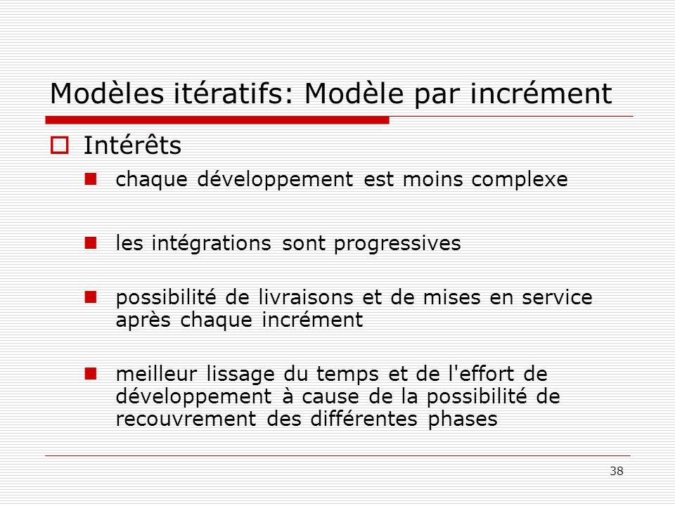 38 Modèles itératifs: Modèle par incrément Intérêts chaque développement est moins complexe les intégrations sont progressives possibilité de livraiso
